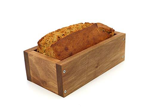 Holzwerk Premium Brot-Backform aus hitzebeständigem massivem Walnuss-holz – hochwertiger Brot-Backrahmen inkl. Rezept– natürlicher Holz-backrahmen – Handarbeit – Made in Germany