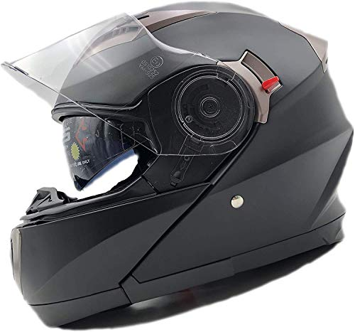 NATHUT Motorradhelm Klapphelm mit Sonnenblende - Integralhelm Helm Motorrad - ECE (L 58-60cm, Schwarz/Matt)