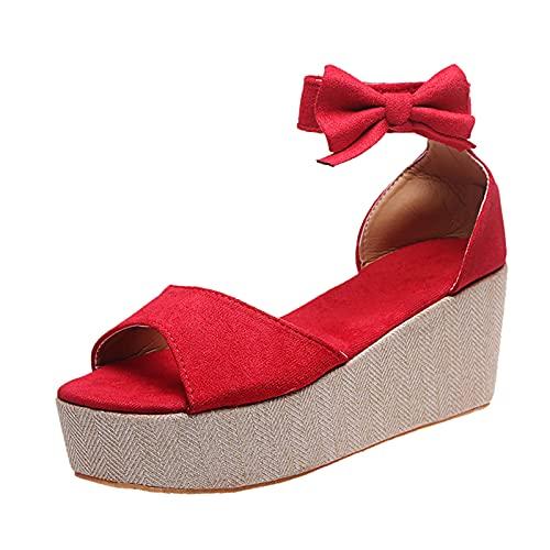 Sandales à talon compensé pour femme - Sandales à talon compensé - Sandales à talon compensé - Sandales de plage à lacets - Rouge - 40
