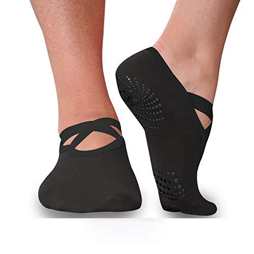Gaiam Yoga Barre Calcetines – antideslizante con agarre en los dedos del pie para mujeres y hombres, Midnight (2 unidades), Tala Única