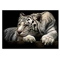 黒と白の虎の壁の芸術-キャンバスに絵を描いた壁画の絵画動物の写真リビングルームのダイニングルームの家の装飾の装飾のギフト-フレームレス,50×70cm