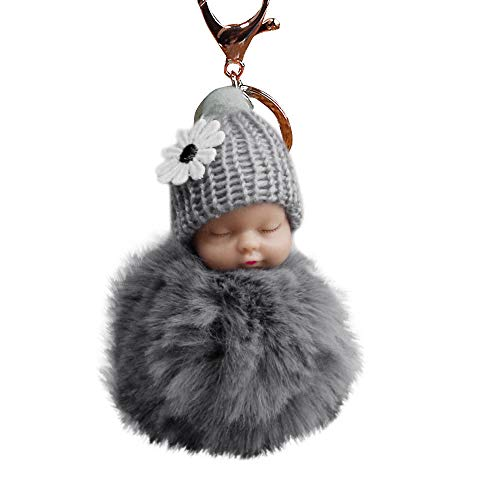 Janly Clearance Sale Womens Keychains, Cute Fur Fluffy PomPom Sleeping Baby Doll Key Chains Keyrings Bags Charm Pendant, Jewelry & Watches for Christmas Valentine's Day (Gray)