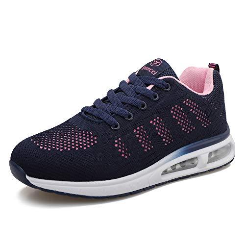 Zapatillas de Deporte atléticas para Mujer Zapatillas de Deporte con amortiguación de Aire Transpirable Moda Deportiva Gimnasio Jogging Tenis Entrenadores de Fitness Armada 40 EU