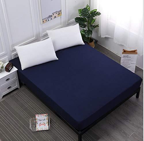 N / A Cubrecolchón ,Sábanas Ajustables Impermeables de Color sólido King, Protector de colchón a Prueba de orina, Funda de Cama para Dormitorio de niñas-Azul_150X200cm + 25