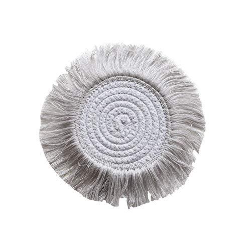 LUOSI Macrame Cup Pad Tischdecke Tisch Matte Reiner Handgefertigter Baumwollgeflecht rutschfeste Isolieruntersetzer Für Küche (Color : A)
