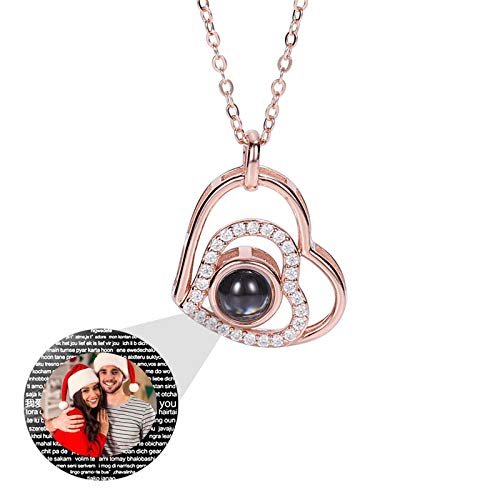 925 Sterling Silver Necklace Custom Projection Necklace Heart Photo Necklace 100 Languages I Love You Pendant Birthday Anniversary Thanksgiving Gift for Woman(Rose Gold Full Color 14)