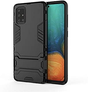 Samsung Galaxy A71 Armor Phone Case Invisible Bracket Sergeant Anti-Fall Protection Case Cover-Black