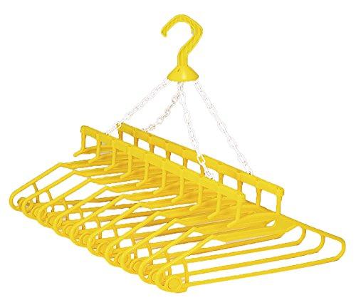 アーネスト 【日本製】 洗濯ハンガー 10連式 (筒状の物もかけられる/首周りが伸びにくい) 幸福の黄色いハンガー 大手飲食店愛用ブランド A-75116