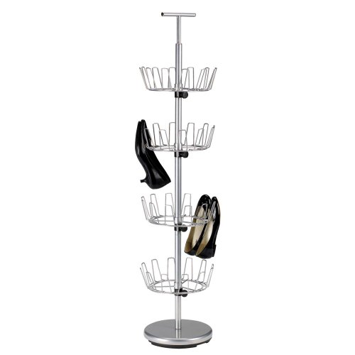 Household Essentials Revolving Four-Tier Shoe Tree Silver Finish