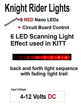 Knight Rider LED Scrolling Circuit for KITT Car or Cylon Raiders - Diecast Models R/C Drones - Runs on a 9 Volt Battery  Red