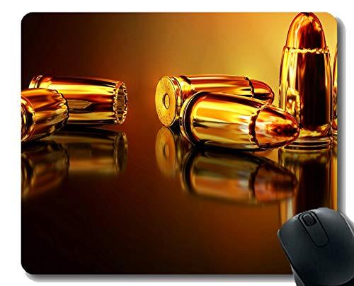 Gaming Mouse Pad Custom, Waffe Krieg Handfeuerwaffe Munition Metall Mauspad mit genähtem Rand