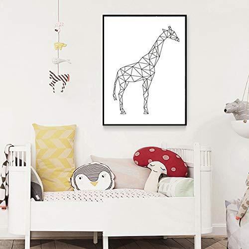 tzxdbh Sure Life Minimalistisch giraf, geometrisch canvas, kunstdruk, dieren, wand, kunst, foto, kinderkamer, decoratie, kalligrafie & schilderij 50x70 cm Met frame