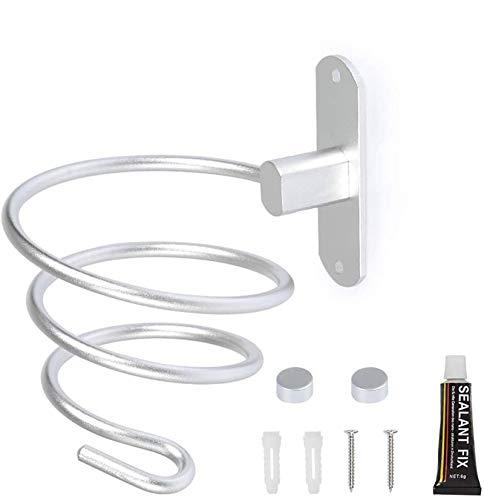 TIMESETL Soporte de Secador de Pelo en Pared, Tornillo + Autoadhesivo Ventosa Estante Secador Pelo para Dormitorios, Aseos, Barberías