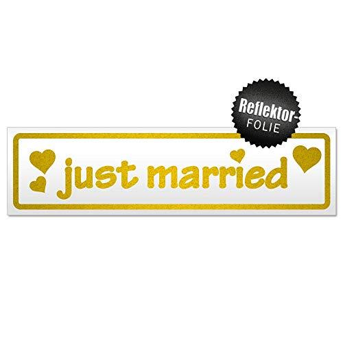 Kiwistar Panneau magnétique Just Married, Gelb-reflektierend, 60x16 cm
