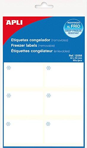 APLI 12058 - Pack 60 etiquetas congelador 10 hojas