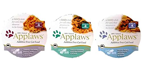 Applaws Additive Free 100% Natural Food For Cats 3 Flavor Variety 6 Can Bundle: (2) Applaws Tender Chicken Breast With Tuna Roe In Broth, (2) Applaws Tasty Sardine With Mackerel In Broth, and (2) Applaws Tasty Tuna Fillet With Prawn In Broth, 2.12 Oz. Ea. (6 Cans Total)