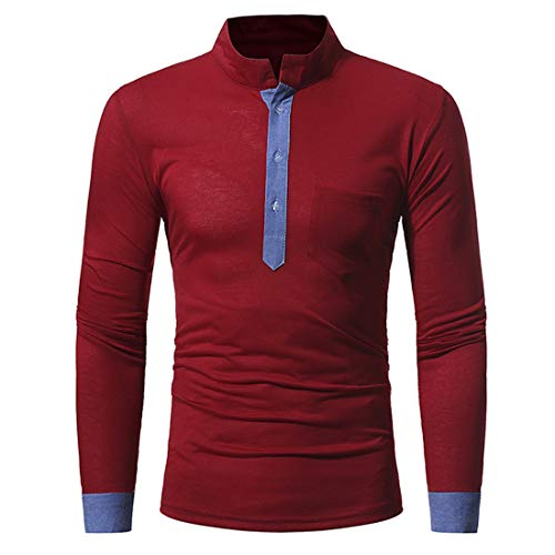 Men T Shirt Men Top Long Sleeve Slim Round Neck Fashion Men Men T Shirt Autumn New Breathable Comfortable Soft Men T Shirt All-Match Casual Men T Shirt Z-Red. XXL