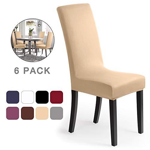 Stuhlhussen 6 Stück, Stretch-Stuhlbezug elastische moderne Husse Elasthan Stretchhusse Stuhlbezug Stuhlüberzug . bi-elastic Spannbezug, sehr pflegeleicht und langlebig Universal - Creme-Natur)