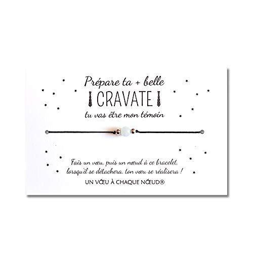 Demande Témoin de mariage Homme - Carte + Bracelet porte-bonheur + enveloppe - Fabriqué en France - Cadeau Original Cravate