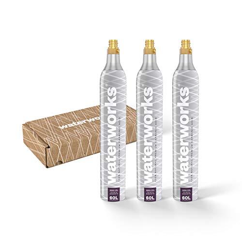 waterworks 3 x Silver CO2-Zylinder I Geeignet für SodaStream u.v.a Wassersprudler I Für bis zu 60 L pro Füllung I Kostenfreier Rückversand bei Zylindertausch
