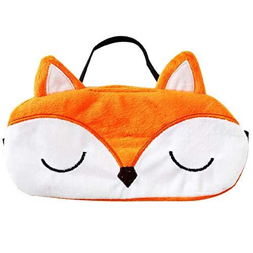 Ulife Mall Antifaz para Dormir Máscara de Ojo de Zorro de Kawaii Máscara Transpirable de Sueño para Viaje Cubierta de Ojo de Felpa Suave con Banda de goma Elástica para Niños Chicas Mujer - Naranja