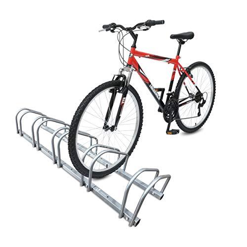 VOUNOT Rastrelliera per Biciclette, Rastrelliera Portabici, Installazione a pavimento e parete, 5 Posti, Argento