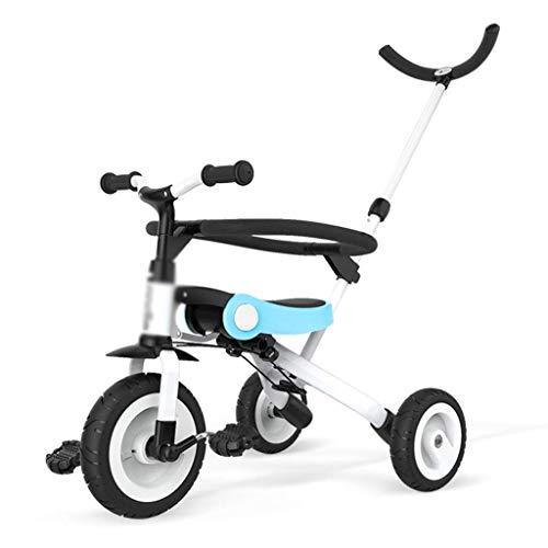 YANGDONG-Bicicleta para niños- Bicicletas para niños Triciclo Niños y niñas Preescolar Scooter 3 ~ 10 años de edad Bicicleta Ligero Ligero Cochecito de bebé (Color: Azul, Tamaño: 55x44x59cm) X