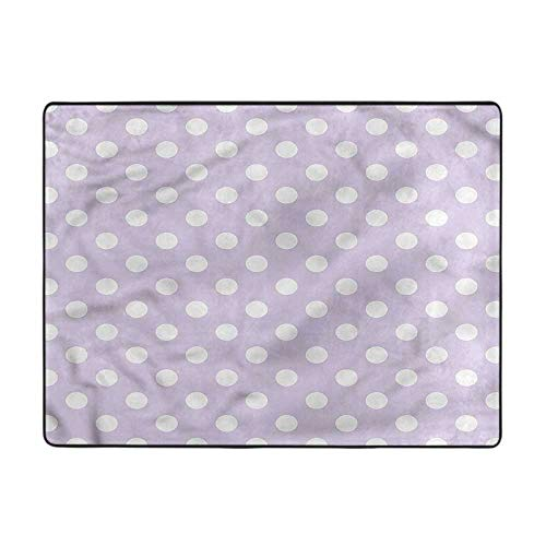 Lavender Rug White Polka Dots Design Dining Room Home Bedroom Carpet Floor Mat 2'x3'