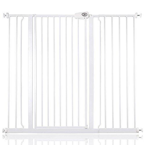 Bettacare barrière d'escalier enfant et animal de compagnie 75cm - 147.8cm (120cm - 128cm, Blanc)
