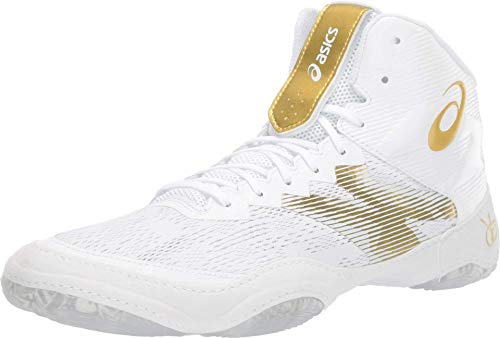 ASICS Men's JB Elite IV Wrestling Shoes, 11M, Brilliant White/Rich Gold