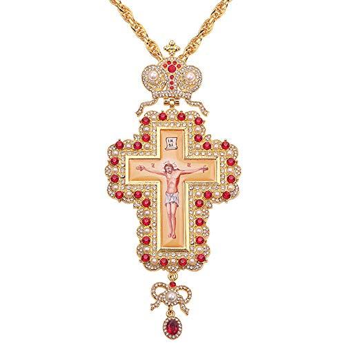 120Cm Langkettige Papst Franziskus Brustkreuz Orthodoxe Kreuzkette Religiöse Jesus-Ikone Metall Ist Mit Kristall Besetzt