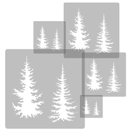 5 Stück wiederverwendbare Kunststoff-Schablonen // TANNE - FICHTE // 34 x 34 cm bis 9 x 9 cm // Kinderzimmer-Deko // Kinderzimmer-Vorlage