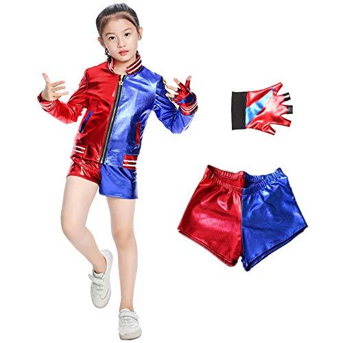 Noe Quinn Kostüm für Kinder, mit Handschuhe, Jacke, T-Shirt, Shorts Thema Cosplay Kostüm Set, für Fasching Karneval Halloween (XL)
