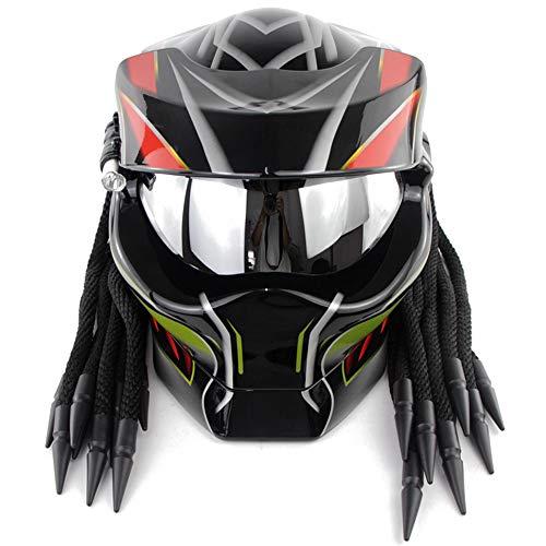 ZJRA Casco Predator, Casco de Moto para Moto Descubierto, Aprobado por el Dot, Pelo Trenzado, Casco de Motocross de Rostro Abierto, LED -Bright,XL61~62cm