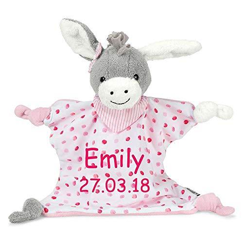 Sterntaler Schmusetuch Emmi Girl medium mit Namen Geburtsdatum bestickt Schnuffeltuch grau/pink