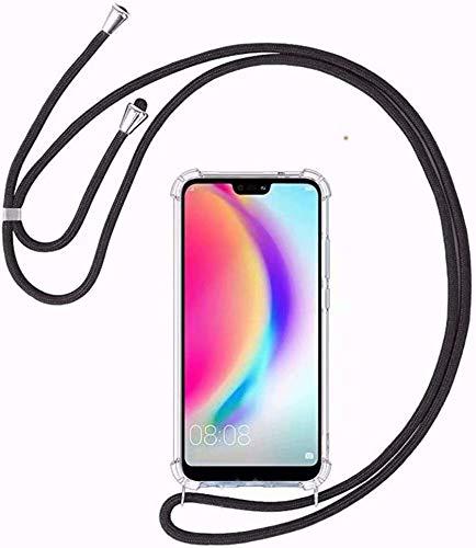 BestST Funda Transparente con Cordón para LG G7/LG G7 ThinQ [Moda y Practico][ Anti-Choque][Anti-rasguños] Ultrafina Suave TPU Carcasa de movil con Colgante/Cadena,Negro
