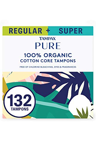 Tampax Pure Tampons, Duopack (Regular/Super), 132 Count, Unscented (6 Packs of 22 - 132 Count Total)