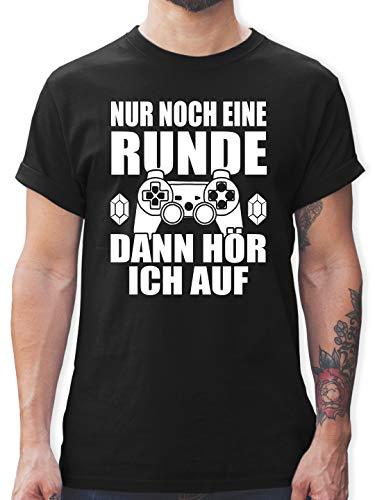 Nerds & Geeks - Nur noch eine Runde - M - Schwarz - t Shirt Nerd - L190 - Tshirt Herren und Männer T-Shirts