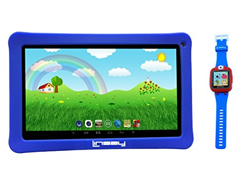"LINSAY New F10KBWB 10.1"" Kids Tablet Blue Bundle with 1.5"" Smart Watch Kids Cam Selfie Blue up to 32Gb"