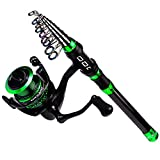 BAIKALBASS Fishing Rod and Reel Combos Kit Carbon Fiber Telescopic Fishing Pole with Spinning Reel Combo Sea Saltwater Freshwater Travel Fishing Tackle Set 1.8M Rod + DZA2000