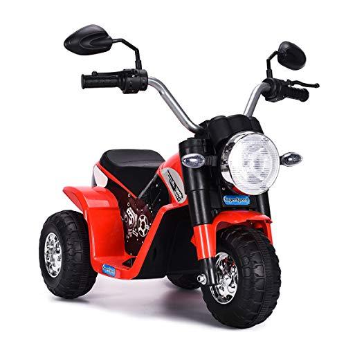 COSTWAY 6V Elektro Motorrad mit Scheinwerfer und Hupe, Dreirad Kindermotorrad, Elektromotorrad, Kinderfahrzeug 3-4 km/h für Kinder ab 3 Jahren (Rot)