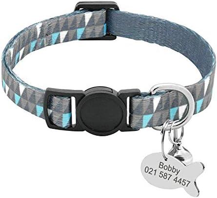 Collar de Gato Personalizado con Placa de Nombre con Hebilla de liberación rápida