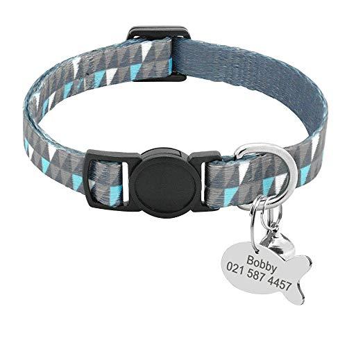 Collar de Gato Personalizado con Placa de Nombre – Collares de identificación de Gato con Timbre – Etiquetas de identificación para Mascotas pequeñas grabadas con Hebilla de liberación rápida