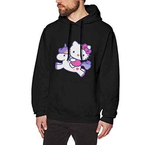 N / A Hello Kitty with Unicorn Men's Hoodie Sweatshirt Long-Sleeve Baumwolle Herren Hooded No Pocket Sweatshirt Kapuzenpullixl
