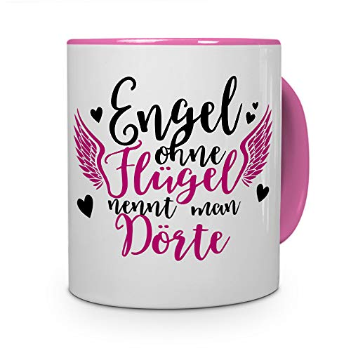 printplanet Tasse mit Namen Dörte - Motiv Engel - Namenstasse, Kaffeebecher, Mug, Becher, Kaffeetasse - Farbe Rosa