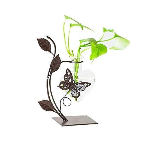 NHLBD Home decoratie/Feng Shui tafel Creatieve Kleine Zoet Groen Water Hydroponische Plant Glas Fles Smeedijzeren Vaas Decoratie Bloem Arrangement Container Woonkamer Decoratie A