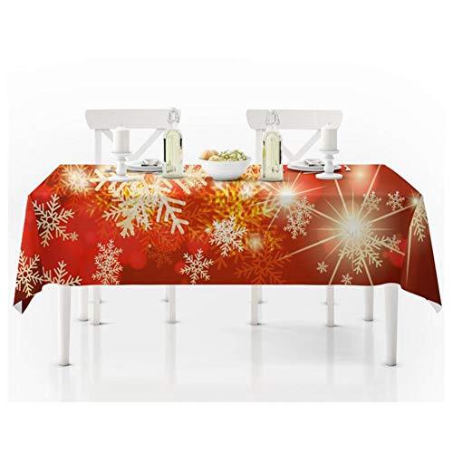 WSGZH Tovaglie, Natale Rosso Fiocco di Neve Tovaglia Natale Soggiorno Decorazione Panno Tavolino Tovaglia Home Ristorante Arredamento Hotel