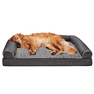 Furhaven Pet Dog Bed – Orthopedic Plush Luxe Faux Fur and Performance Linen Traditional Sofa-Style Living Room Couch Pet Bed with Removable Cover for Dogs and Cats, Charcoal, Jumbo