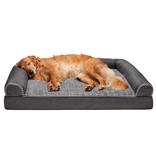 Furhaven Pet Dog Bed - Orthopedic Plush Luxe Faux Fur and Performance Linen Traditional Sofa-Style Living Room Couch Pet Bed with Removable Cover for Dogs and Cats, Charcoal, Jumbo