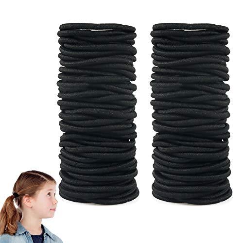 Ealicere 100 Stück 4mm ohne Metall Haargummis Schwarz haarbänder,Elastisch Stirnband für Frauen Mädchen